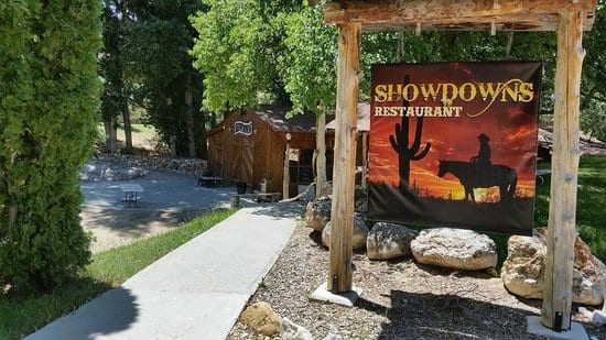 The front sign for Showdowns Restaurant